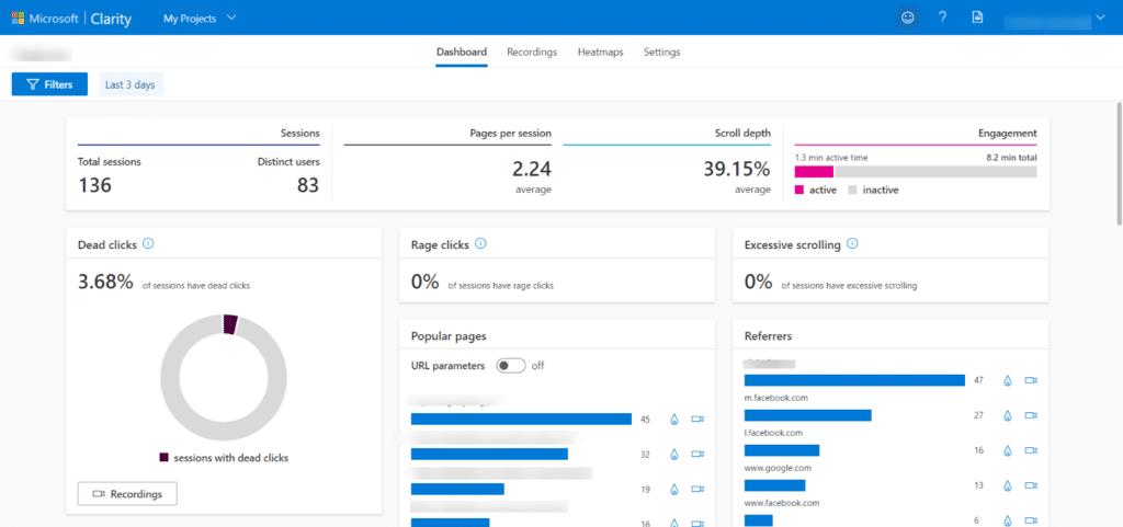 Microsoft Clarity Dashboard - Πως είναι η πλατφόρμα